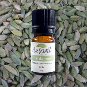A 5ml bottle of Cardamon essential oil in front of a background of Cardamon seeds