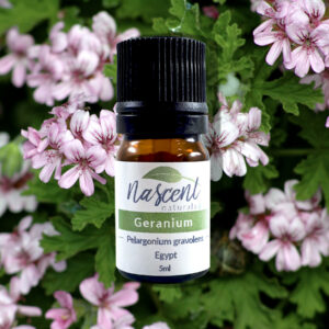 A 5ml bottle of Geranium essential oil in front of a background of geranium flowers