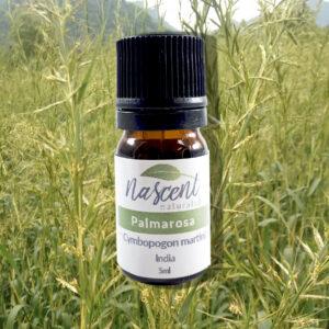 A 5ml bottle of palmarosa essential oil in front of Palmarosa grass