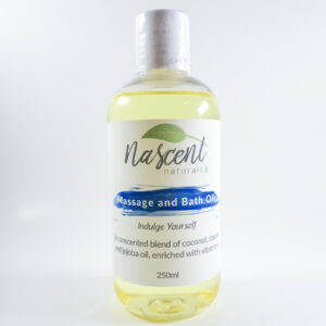 Bottle of unscented massage oil in 250ml size.