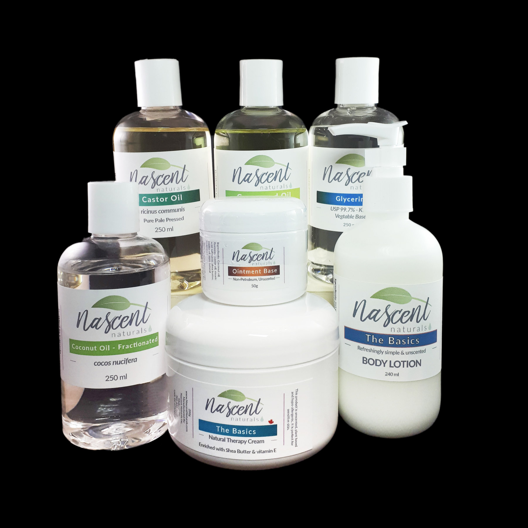 A variety of aromatherapy carries such as lotion, cream, ointment and carrier oils in front of a black background